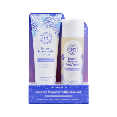 The Honest Company 2-Piece Dreamy Lavender Shampoo + Body Wash (10 fl. oz) & Face + Body Lotion (8.5 fl. oz.) Bundle | Tear Free | Naturally Derived Ingredients | Sulfate & Paraben Free Baby Bath