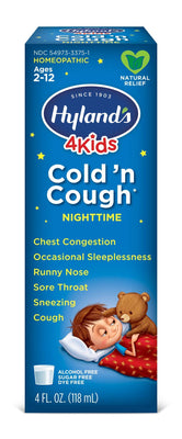 Hyland's Cold and Cough 4 Kids, Nighttime, Cough Syrup Medicine for Kids, Decongestant, Sore Throat Relief, Natural Treatment for Common Cold Symptoms, 4 Fl Oz (Packaging May Vary)