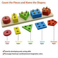 MoTrent Wooden Educational Preschool Toddler Toys for 1 2 3 4 5 Year Old Boys Girls Shape Color Recognition Geometric Sorting Board Chunky Blocks Stack Sort Puzzle Toys for Kids