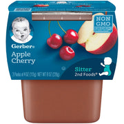 Gerber 2nd Foods Fruits Apple & Cherry Pureed Baby Food, 4 Ounce Tubs, 2 Count (Pack of 8)
