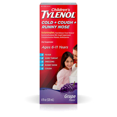 Children's Tylenol Cold + Cough + Runny Nose & Fever Medicine with Acetaminophen, Grape, 4 fl. oz