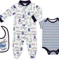 Mini B. by Baby Starters 3-Piece Layette Set with Sleep and Play, Bodysuit and Cloth Bib (Blue/Just Hanging Sloth, 0-3M)