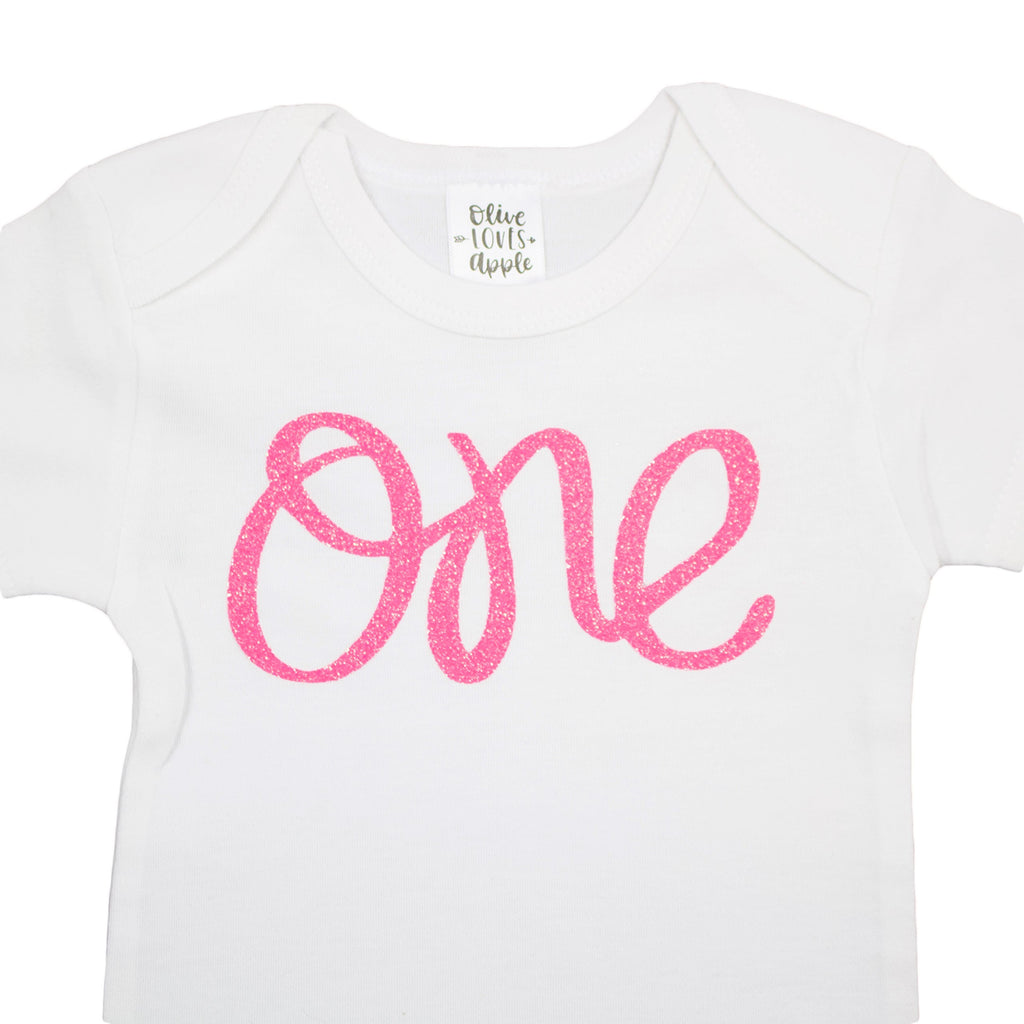 Olive Loves Apple 1st Birthday Onesie Girl Glitter Bodysuit Rose Gold, Pink, Purple, Red, Silver for Baby Girl 1st Birthday