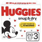 Huggies Snug & Dry Diapers, Size 3 (16-28 lb.), 210 Count, One Month Supply (Packaging May Vary)