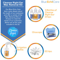 Cleanse Right 2nd Generation FDA Approved 3 Bottles of .5oz Ear Drops, Otoscope, Irrigation Cleaner Bottle with 20 Disposable Tips Ear Wax Removal Tool Kit, Remove Earwax Blockage - Safe, Easy to Use