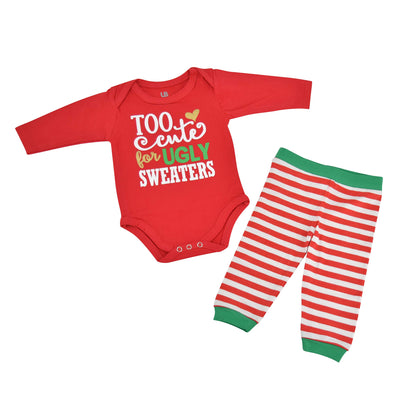 Unique Baby Girls Ugly Sweater Christmas Layette Set