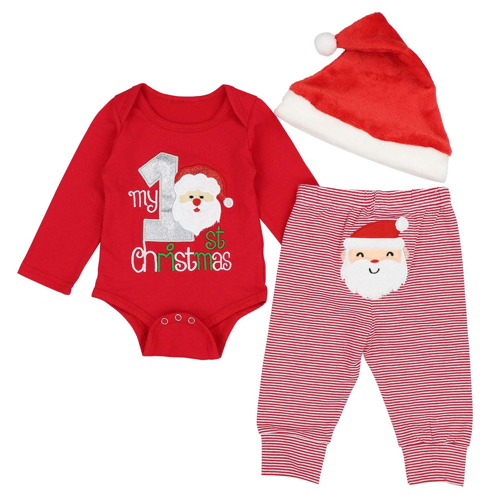 DONWEN Christmas Outfits Baby Boys My 1st Christmas Rompers Bodysuit Santa Claus Pants with Christmas Hat