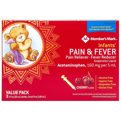 Member's Mark Infants' Pain & Fever Suspension Liquid, Cherry (2 fl. oz., 3 pk.)