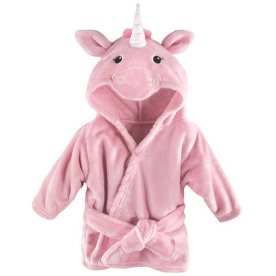 Hudson Baby Unisex Baby Plush Animal Face Robe, Pink Unicorn, One Size, 0-9 Months
