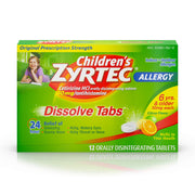 Children's Zyrtec 24 Hour Dissolving Allergy Relief Tablets with Cetirizine, Citrus Flavored Allergy Medicine, 12 ct