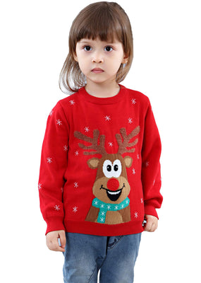 Shineflow Unisex Children Kids Rudolph Reindeer Red Nose Ugly Christmas Sweater Jumper