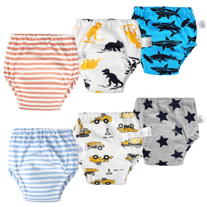 6 Packs Cotton Training Pants Reusable Toddler Potty Training Underwear for Boy and Girl