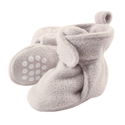 Luvable Friends Baby Cozy Fleece Booties with Non Skid Bottom, Light Gray, 12-18 Months