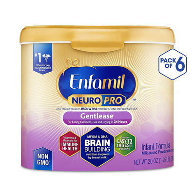 Enfamil NeuroPro Gentlease Infant Formula - Brain Building Nutrition Inspired by Breast Milk - Powder Can, 20 oz (20 Ounce (Pack of 6))