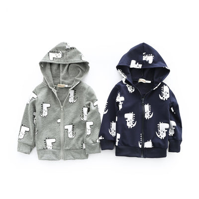 Dealone Baby Boy Zip Front Hoodie Sweathshirt Toddler Dinosaur Jacket Clothes