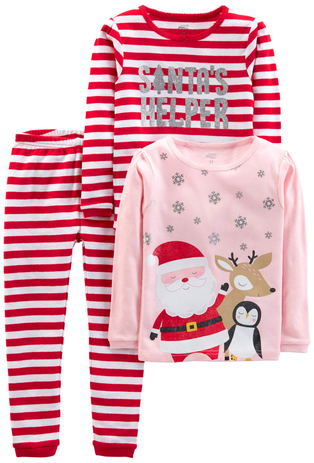 Simple Joys by Carter's Baby, Little Kid, and Toddler Girls' 3-Piece Snug-Fit Cotton Christmas Pajama Set