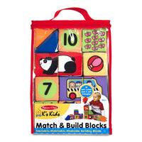 Melissa & Doug Match & Build Soft Blocks (Developmental Toys, 17 Pieces, Great Gift for Girls and Boys - Best for Babies and Toddlers, 9 Month Olds, 1 and 2 Year Olds)