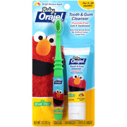 Orajel Elmo Fluoride-Free Tooth & Gum Cleanser 1.0 oz. with Toothbrush, Banana Apple, 1 oz.