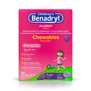 Children's Benadryl Allergy Chewables with Diphenhydramine HCl Antihistamine, Grape Flavor, 20 Count (Pack of 1)