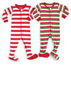 Leveret Striped Baby Boys Girls Footed Pajamas Sleeper 100% Cotton Kids & Toddler Christmas Pjs (3 Months-5 Toddler)