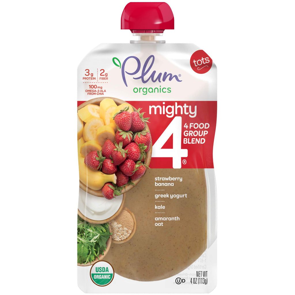 Plum Organics Mighty 4, Organic Toddler Food, Strawberry, Banana, Greek Yogurt, Kale, Amaranth and Oat, 4 Ounce (Pack of 12)