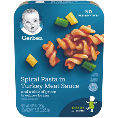 Gerber Spiral Pasta in Turkey Meat Sauce with a side of Green and Yellow Beans, 6.67 oz., 8 Count