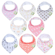 Baby Bandana Drool Bibs for Girls - Super Absorbent Organic Cotton Bandana Bibs - Baby Drool Bib - Teething Bibs - Handkerchief Bibs for Infant, Toddler - 8-Pack Bib Set - Bib Girl (Pink Dreams)