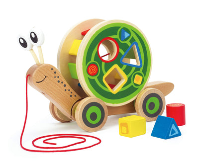 Award Winning Hape Walk-A-Long Snail Toddler Wooden Pull Toy
