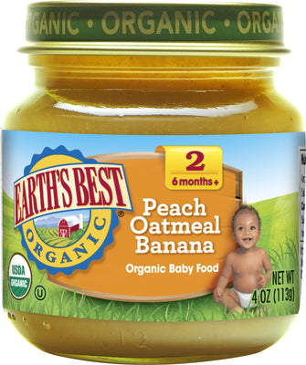 Earth's Best Organic Stage 2 Baby Food, Peach Oatmeal Banana, 4 oz. Jar (Pack of 12)