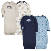 Gerber Baby Boys' 4-Pack Gown, Tiger/Hedgehog, 0-6 Months