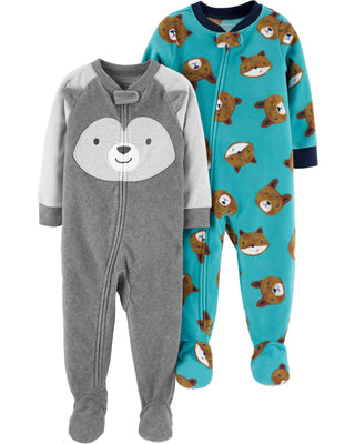 Carter's Baby Boys 2-Pack Loose Fit Fleece Footed Pajamas