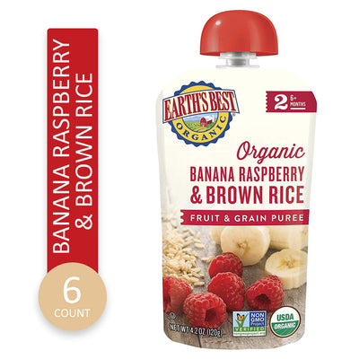 Earth's Best Organic Stage 2 Baby Food, Banana Raspberry and Brown Rice, 4.2 oz. Pouch (Pack of 6)