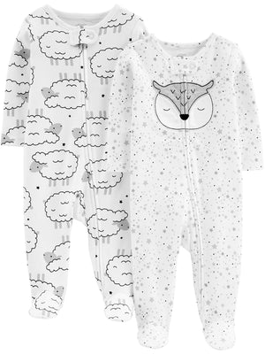 Simple Joys by Carter's Baby Girls' 2-Pack Cotton Footed Sleep and Play