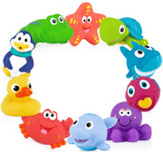 Nuby 10 Count (Pack of 1) Little Squirts Fun Bath Toys, Assorted Characters