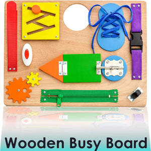 Montessori Busy Board for Toddlers - Wooden Sensory Toys for Toddlers - Travel Toy Educational Activities and Fine Motor Skills Activity Toy for 2 3 4 5 Years Old Boys and Girls