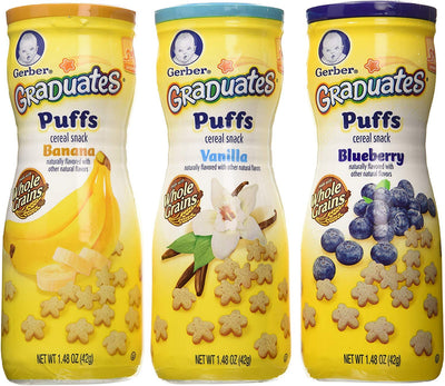 Gerber Graduates Puffs - Variety Pack (Vanilla, Blueberry, Banana) - 1.48 oz - 3 Pack