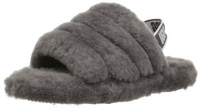 UGG Girls' K Fluff Yeah Slide Sandal, Charcoal, 4 M US Big Kid