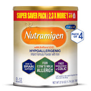 Enfamil Nutramigen Hypoallergenic Colic Baby Formula Lactose Free Milk Powder, 27.8 Ounce (Pack of 4) - Omega 3 DHA, LGG Probiotics, Iron, Immune Support