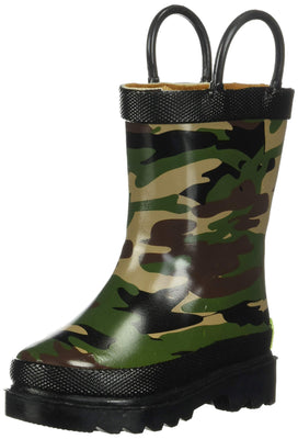 Western Chief Boys Waterproof Printed Rain Boot with Easy Pull On Handles, Camo, 2 M US Little Kid