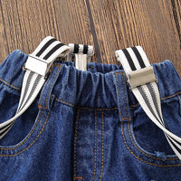 Toddler Baby Boy Clothes Set Bowtie Romper Suspenders Ripped Denim Pants Outfits