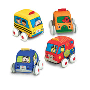 Melissa & Doug Pull-Back Vehicles - The Original (4 Soft Cars and Trucks and Carrying Case, Great Gift for Girls and Boys - Kids Toy Best for Babies and Toddlers, 9 Month Olds, 1 and 2 Year Olds)