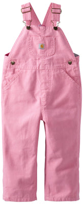 Carhartt Little Girls' Washed Microsanded Canvas Bib Overall Flannel Lined