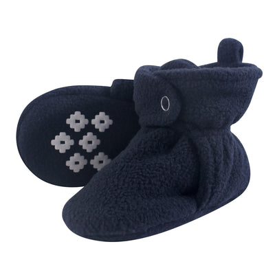 Little Treasure Kid's Cozy Fleece Booties With Non Skid Bottom Sockshosiery, navy, 6-12 Months