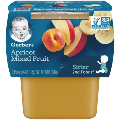 Gerber 2nd Foods Apricot Mixed Fruit Pureed Baby Food, 4 Ounce Tubs, 2 Count (Pack of 8)