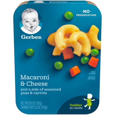 Gerber Macaroni & Cheese with a side of Seasoned Peas & Carrots, 6.6-Ounce (Pack of 8)