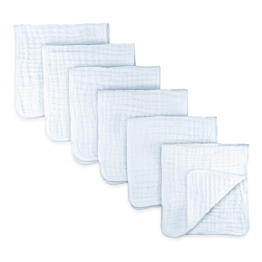 Muslin Burp Cloths 6 Pack Large 100% Cotton Hand Washcloths 6 Layers Extra Absorbent and Soft (White)