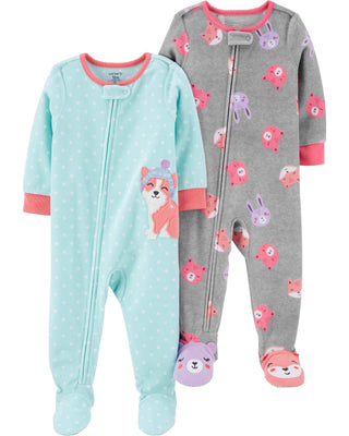 Carter's Baby Girls 2-Pack Loose Fit Fleece Footed Pajamas