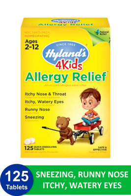 Kids Allergy Medicine by Hyland's 4Kids Non Drowsy Childrens Allergy Relief Quick Dissolving Tablets, Safe and Natural for Indoor & Outdoor Allergies, 125 Count