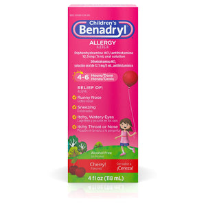 Children's Benadryl Allergy Liquid with Diphenhydramine HCl Antihistamine for Kids' Allergy Relief, Cherry Flavor, 4 fl. oz