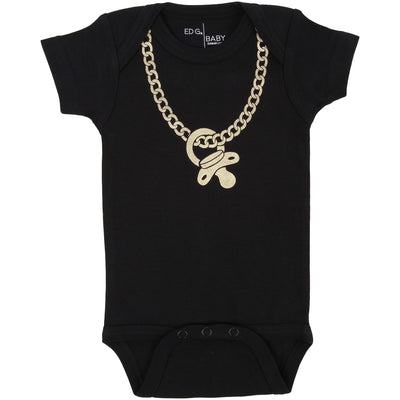 ED G Baby Gold Chainz Bodysuit in Black by